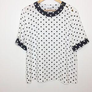 Vintage black white polkadot top size 12